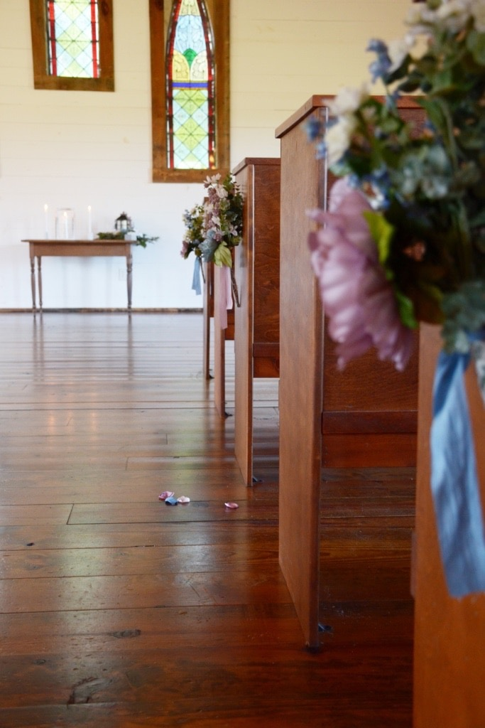 Homemade Chapel Pew Flower Bouquets