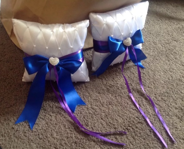 Set Of 2 Ring Bearer Pillows Purple & Blue With Rhinestone Hearts