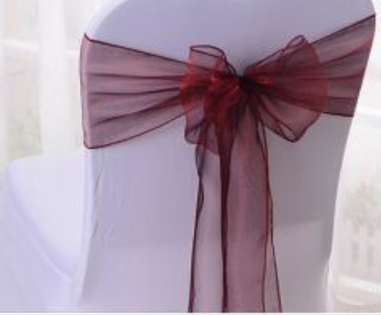 Organza Burgundy Chair Sashes (100)