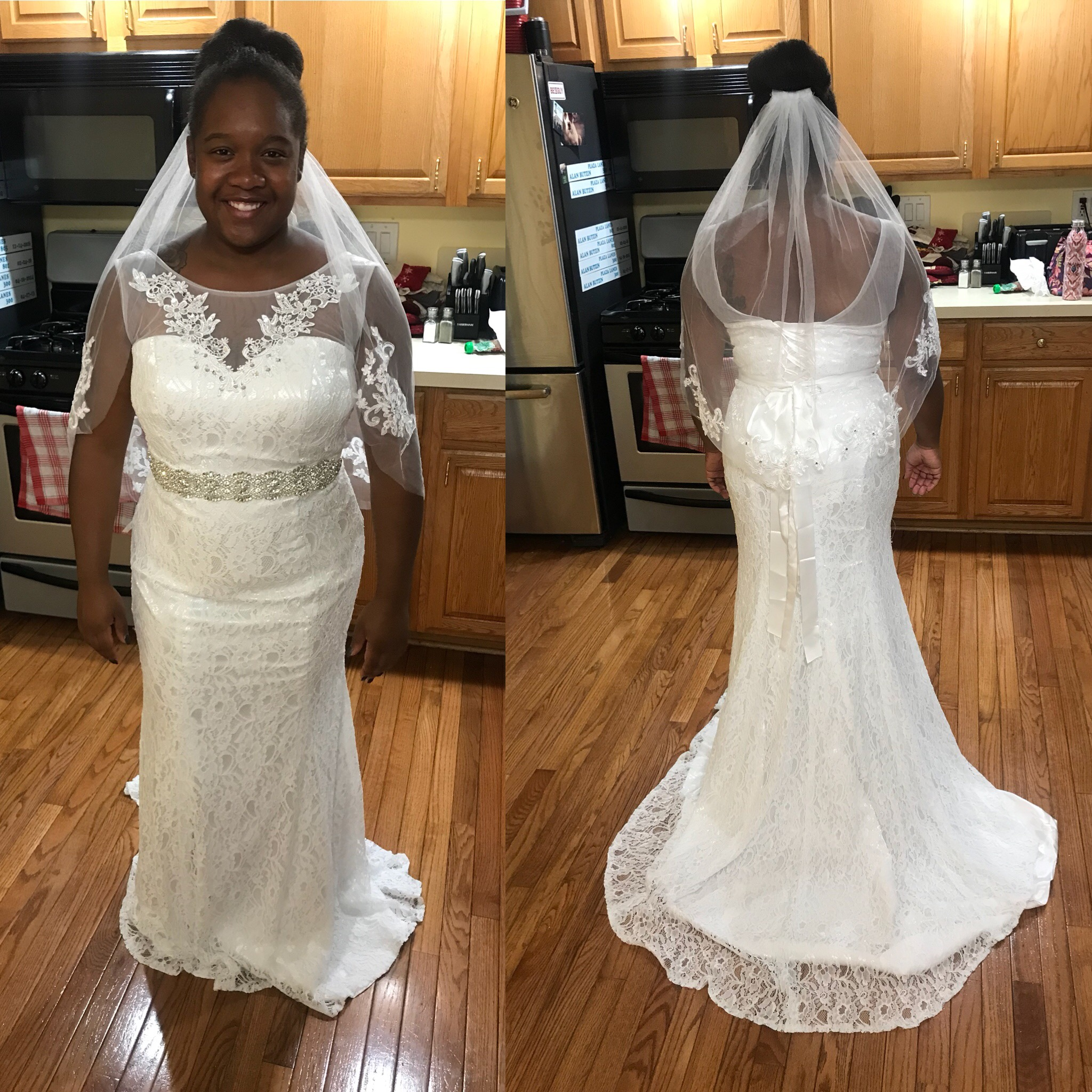 Fit And Flair With Jeweled Waist Sash And Veil