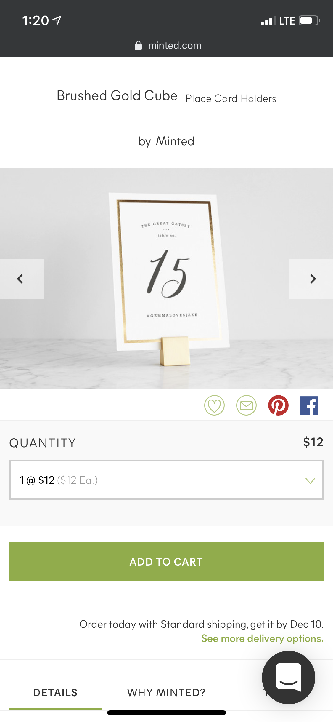 Minted Brushed Gold Cube Table Number Holders