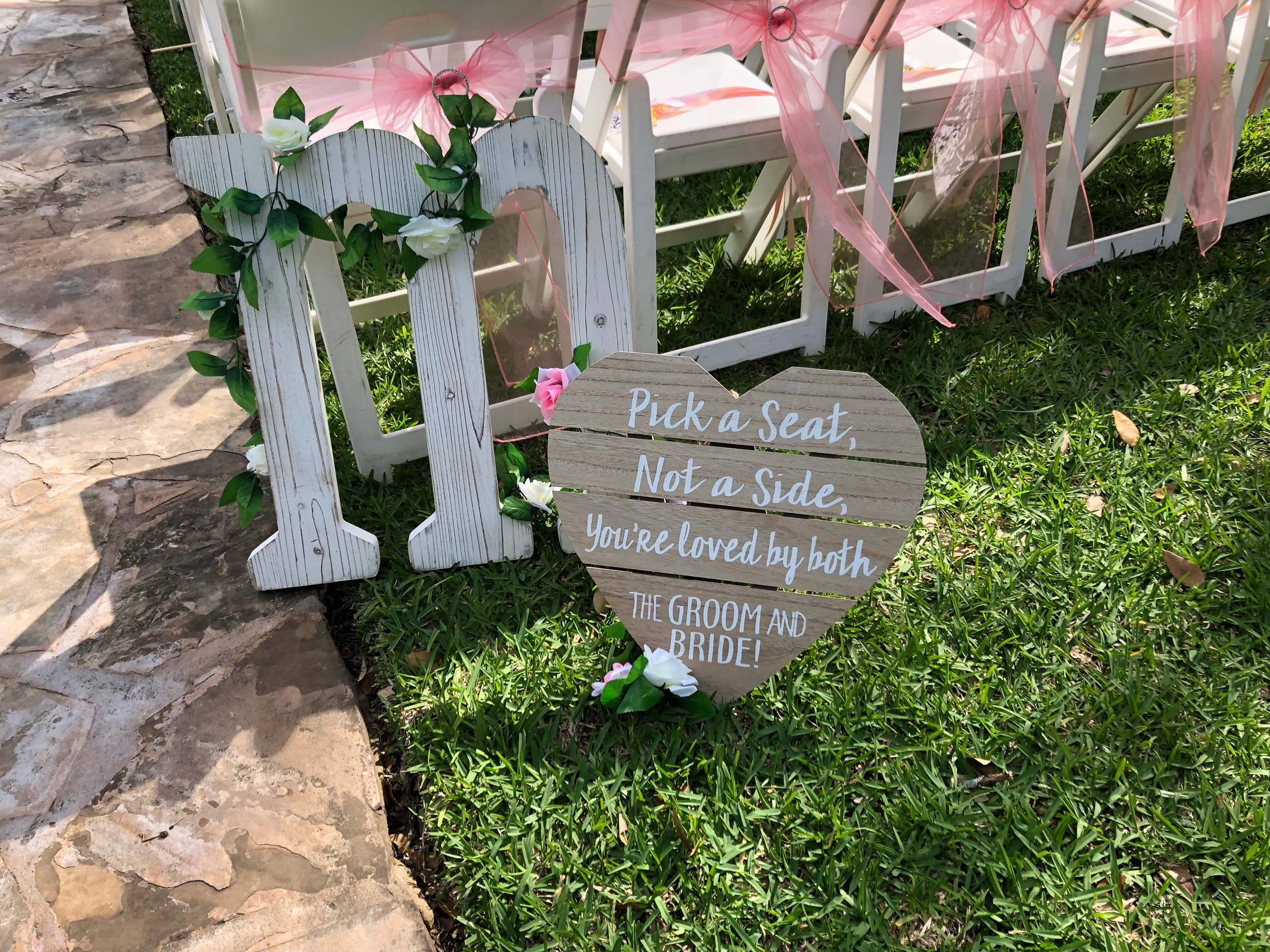 Large White Wooden M Wedding Signage With Pink Ivory Flowers