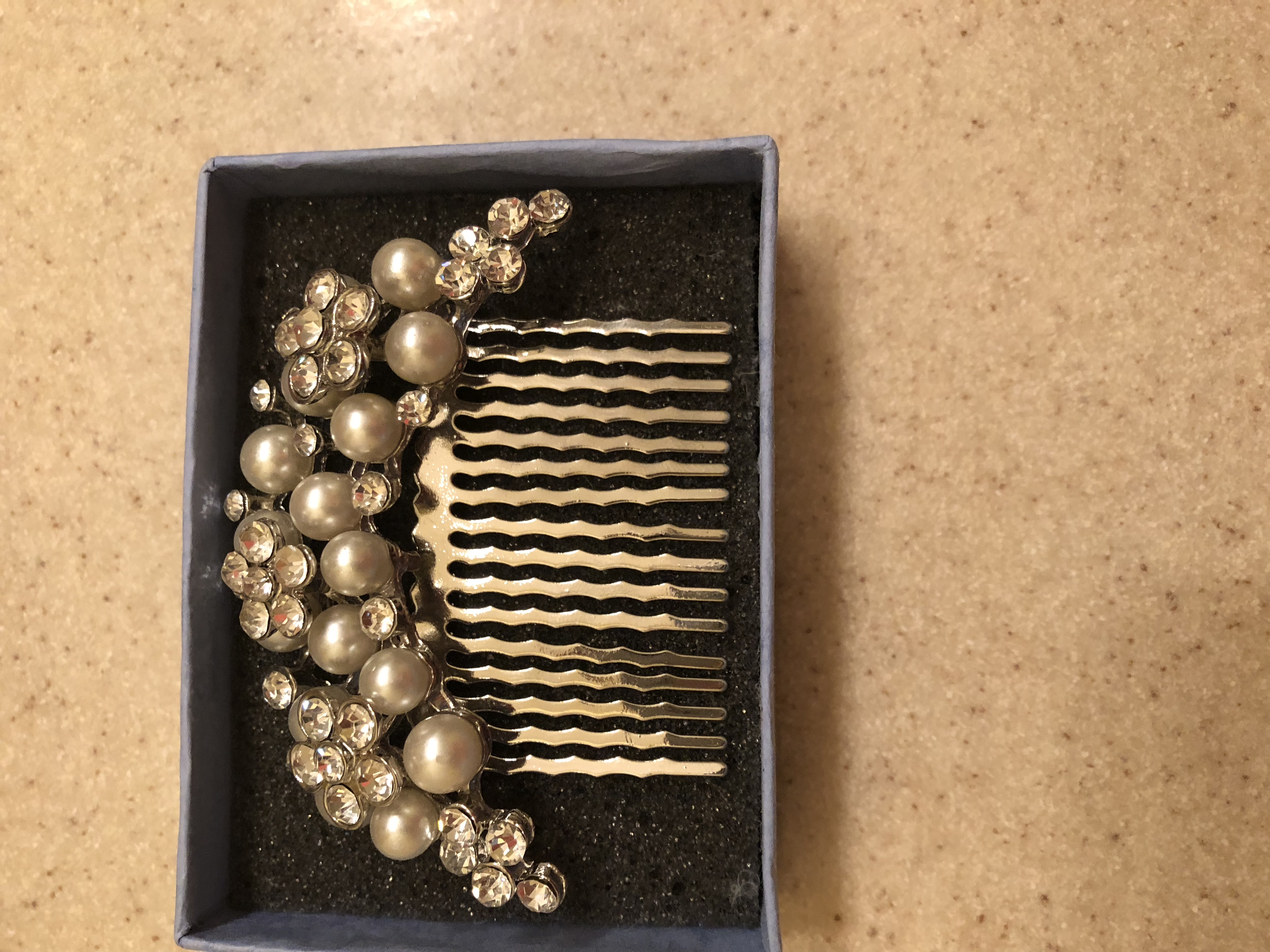 Vintage Inspired Swarovski Crystal Pearl Hair Comb, Wedding Flower Crystal Beaded
