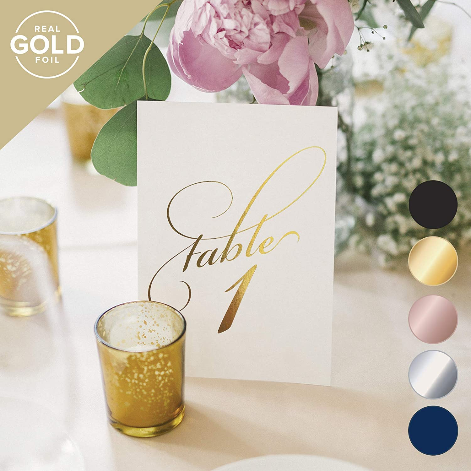 Gold Foil Table Numbers - Paper