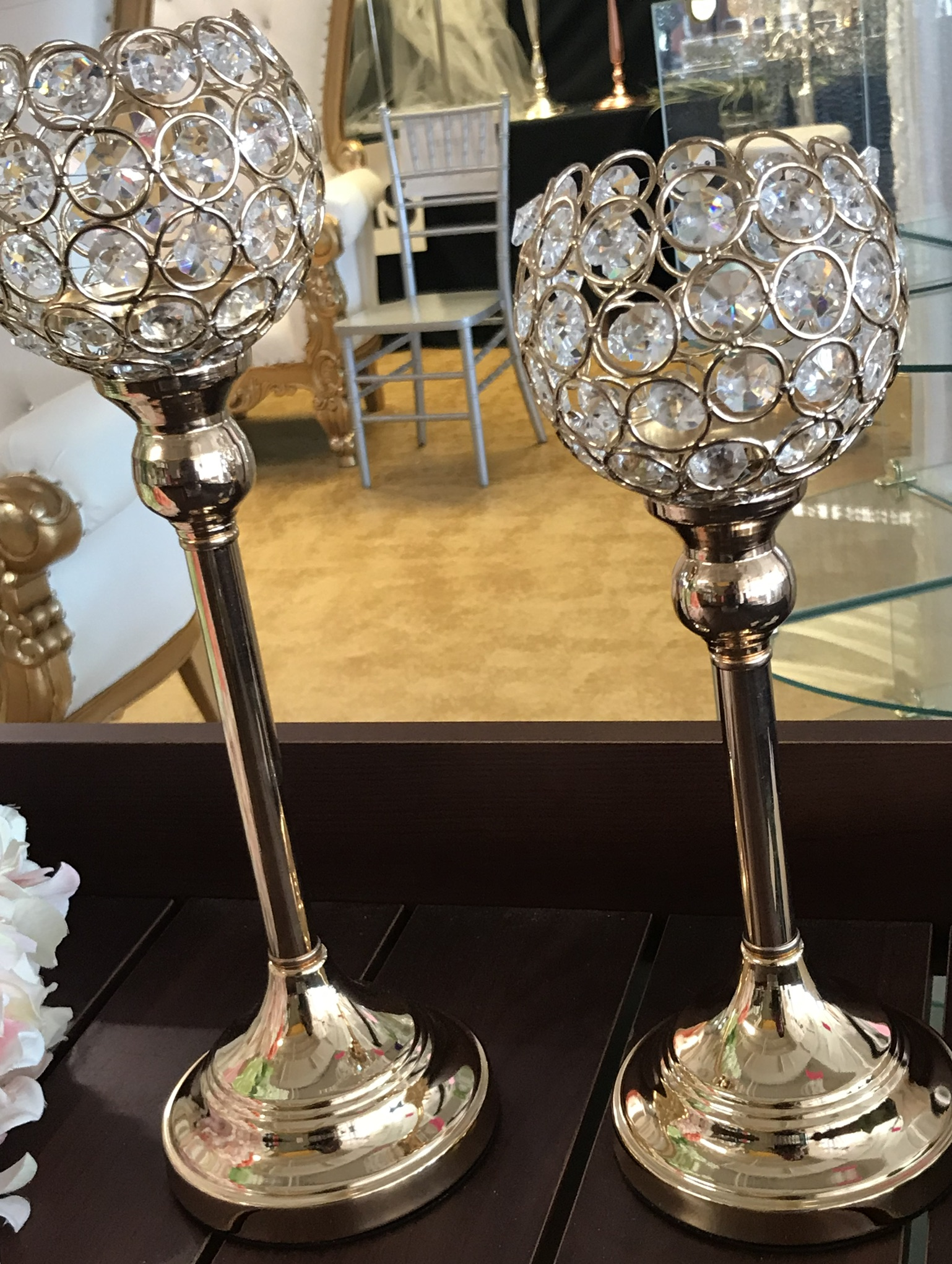 Tall Globe Gold And Glass Candle Holders