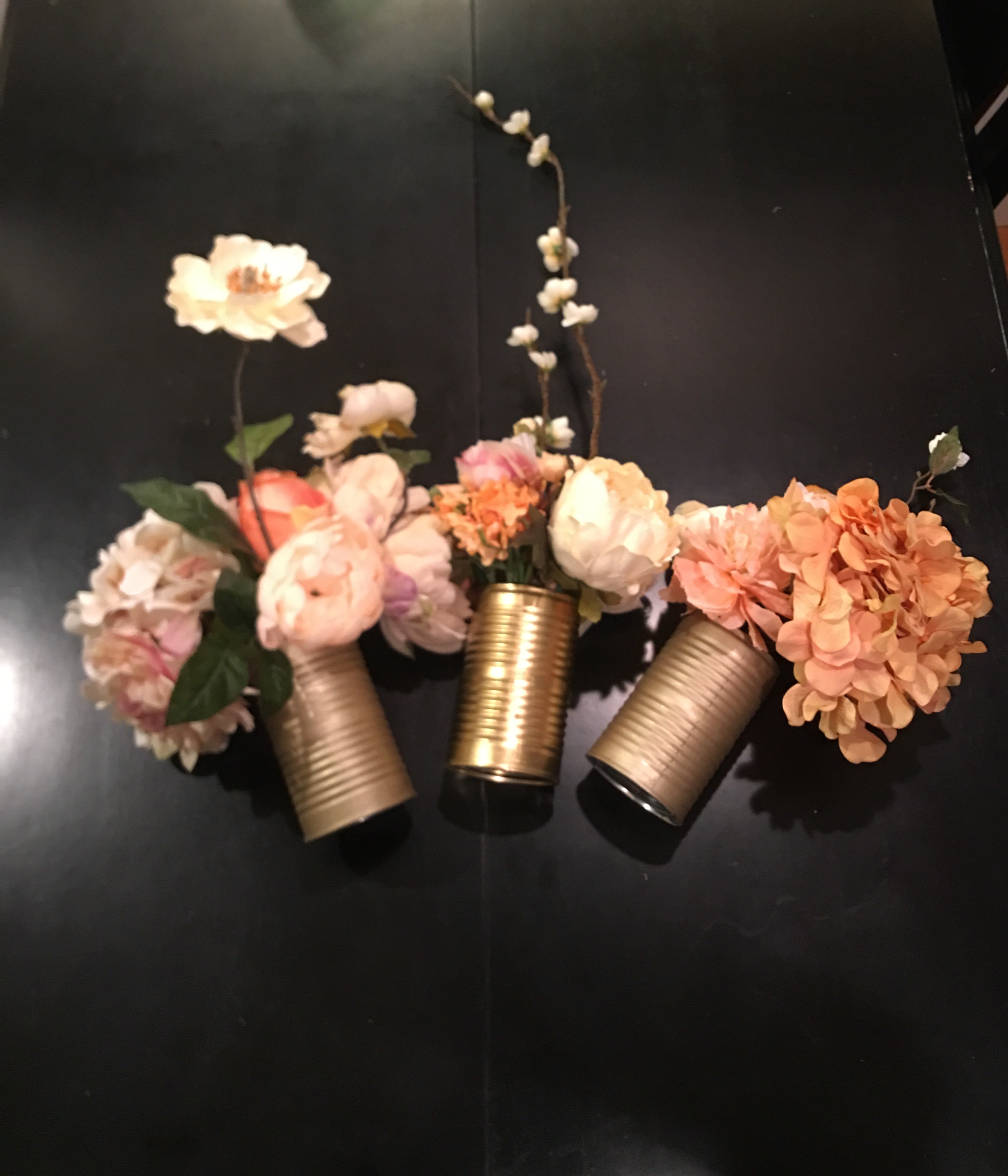 Silk Flower Tin Can Rustic Centerpieces