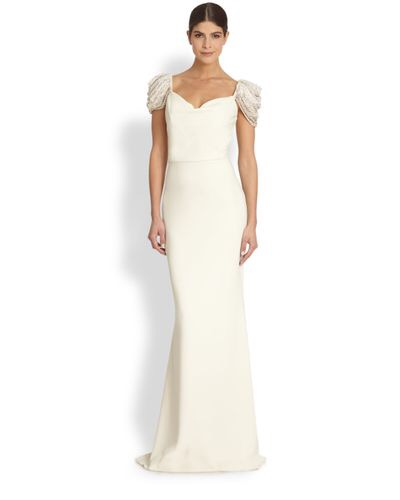 Badgley Mischka Gold Ivory Gown