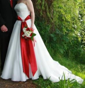 Lisa's Bridal - Warm White Strapless Organza Gown