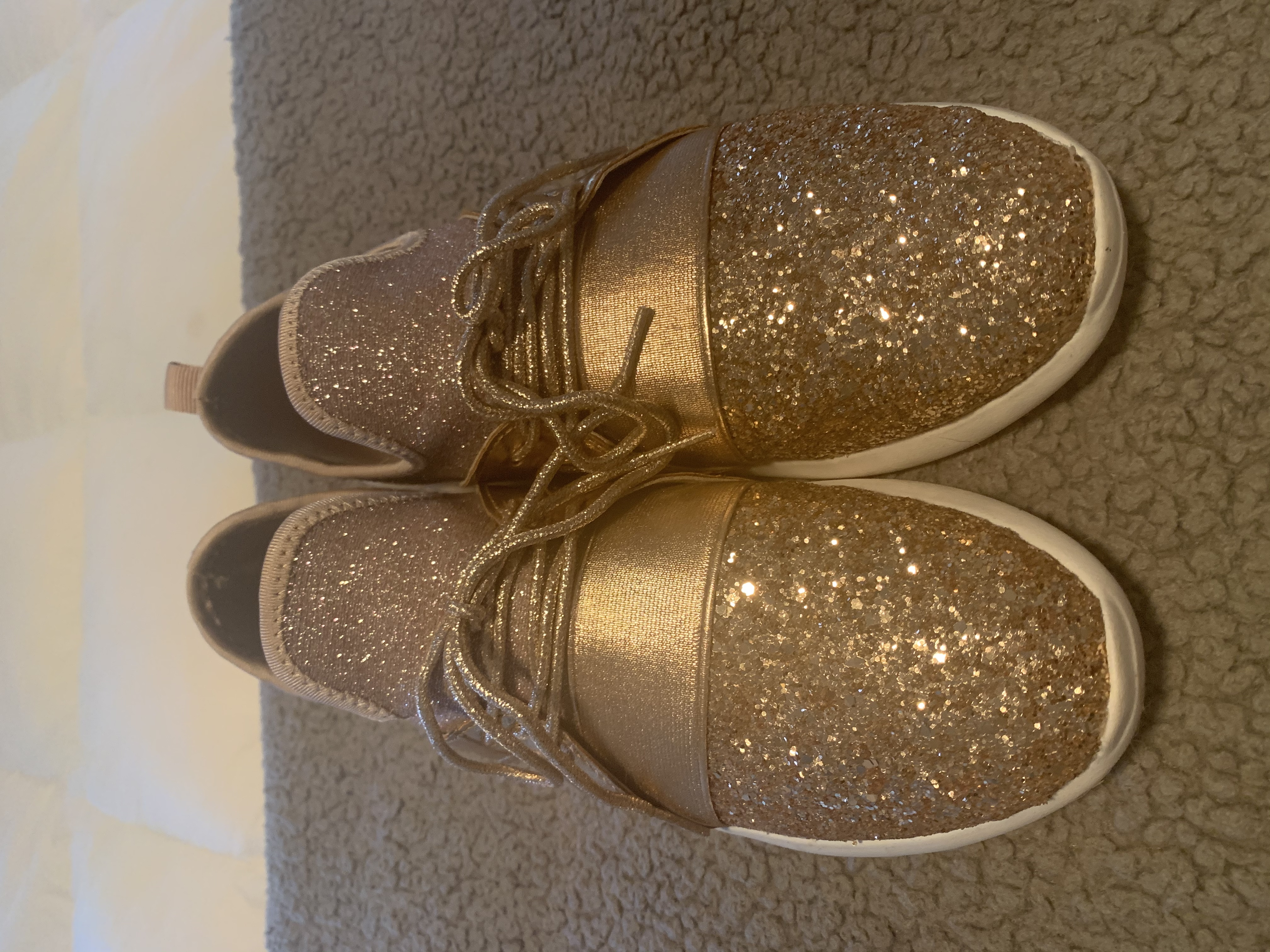 Rose Gold Sparkly Tennis Shoes Size 9