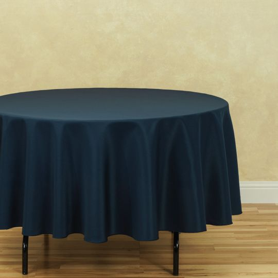 3 Count - 90 In. Round Polyester Tablecloth Navy Blue