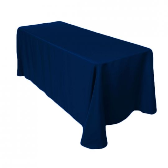 1 Count - 90 X 132 In. Rectangular Polyester Tablecloth Navy Blue