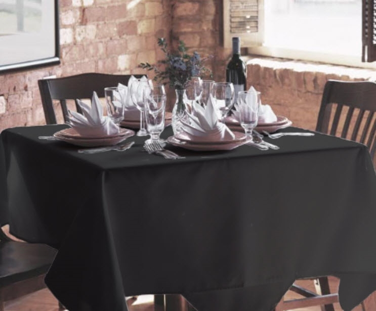 "90"" X 90"" Black Polyester Tablecloths"