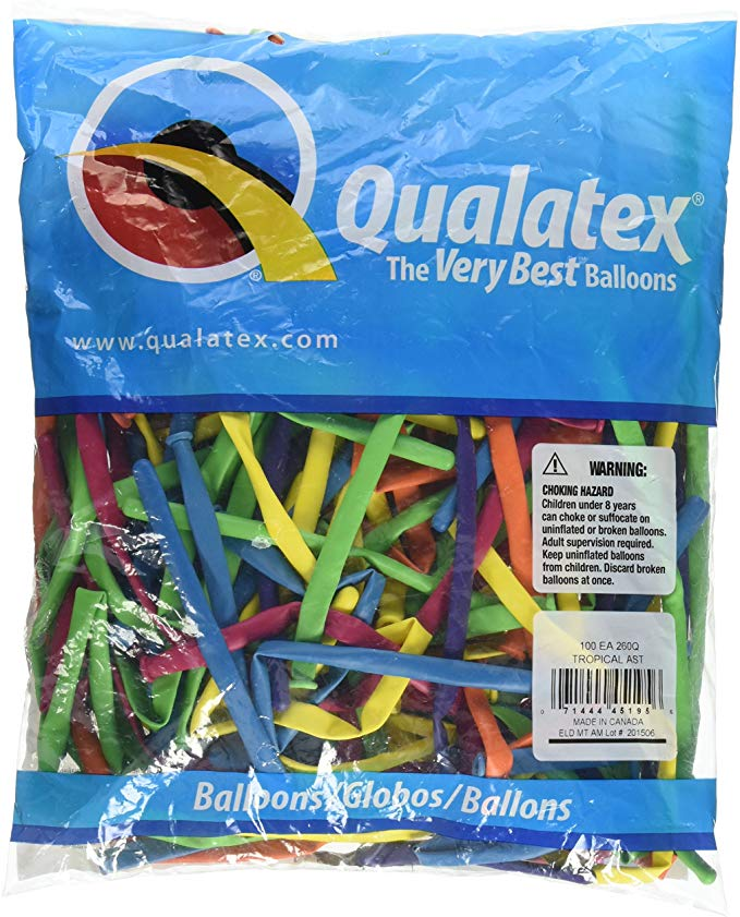 Qualatex 260q Biodegradable Latex Balloons 100-units Per Pack (1-pack) + Qualatex Hand Held Air Inflator - Single Action Balloon Pump