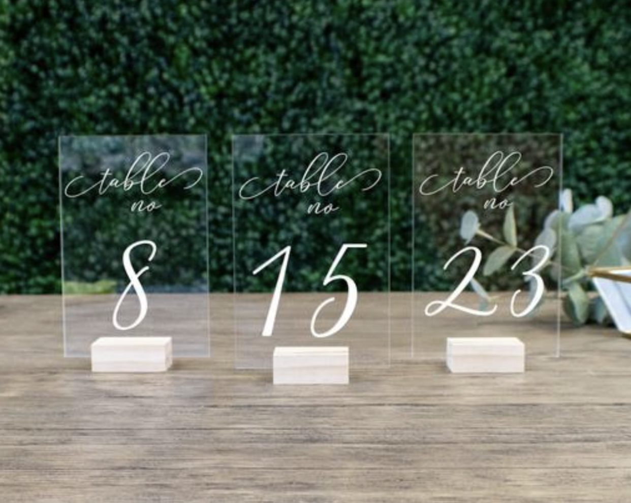 Wedding Table Numbers With Holders || Clear Acrylic Calligraphy Acrylic Table Number Wedding Rustic Clear Wood Table Number Stand (for 30 Tables)