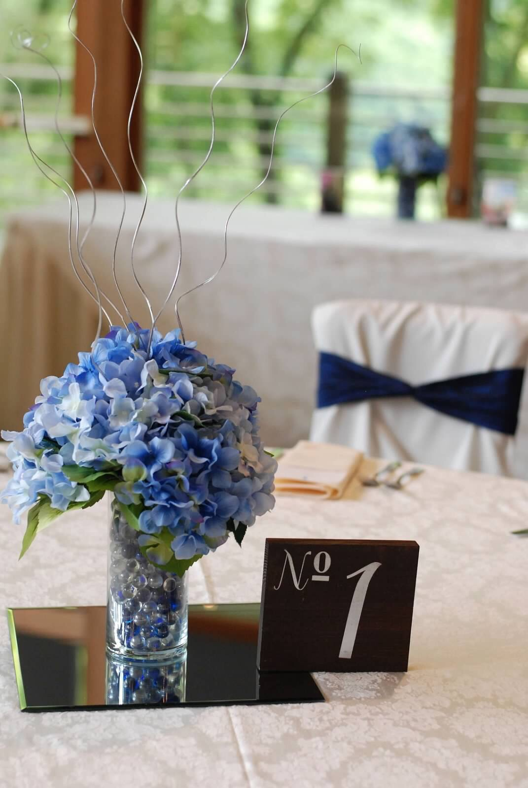 Silk Hydrangea Centerpieces Qty. 17  ( Incl Table Mirrors)