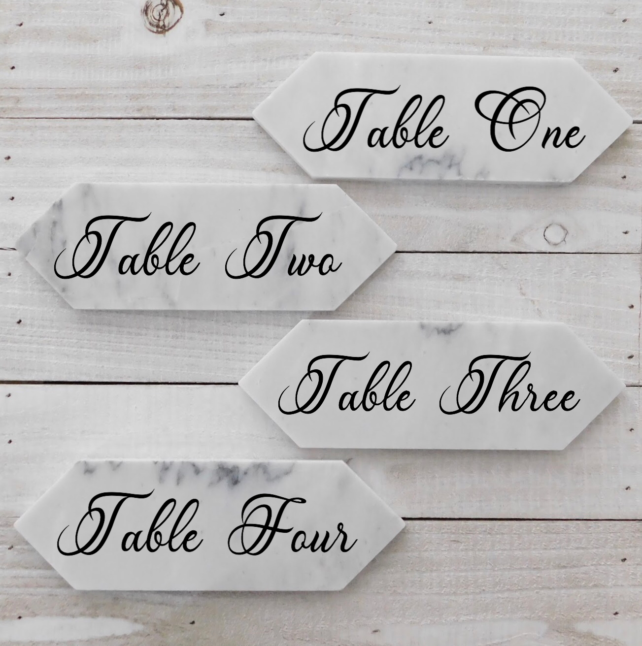 Handcrafted Personalized Carrara Marble Table Numbers