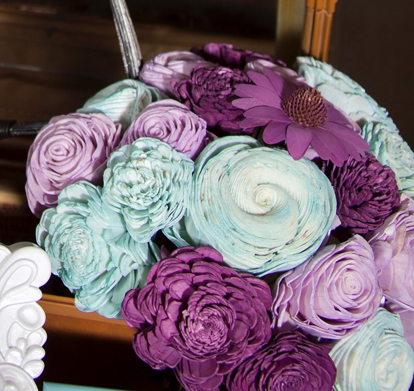 Wooden Purple And Light Blue Boquet Wrapped In Twine