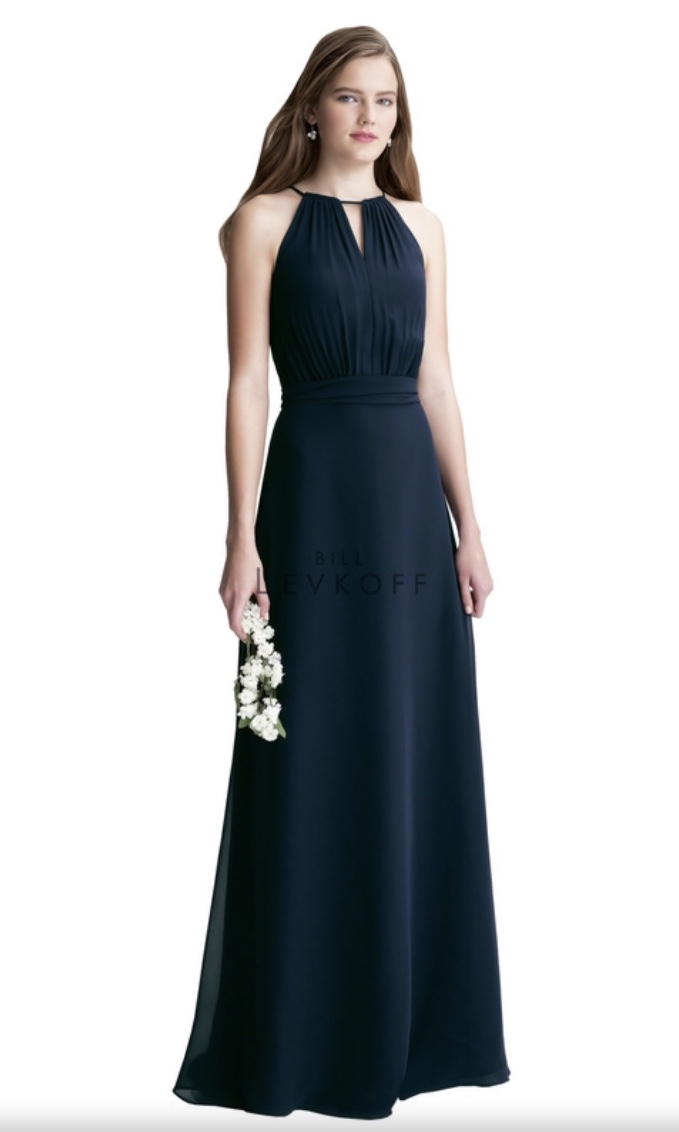 Bill Levkoff - Dark Navy Bridesmaid Full Length Dress