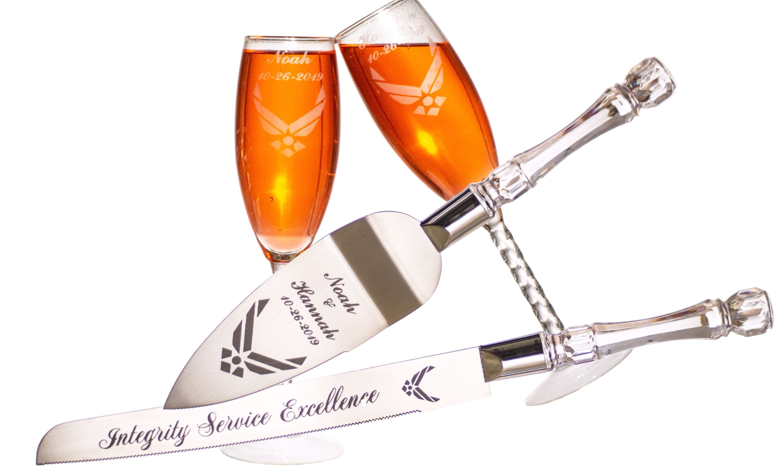 Personalized Theme Wedding Champagne Flutes & Cake Knife And Server Set