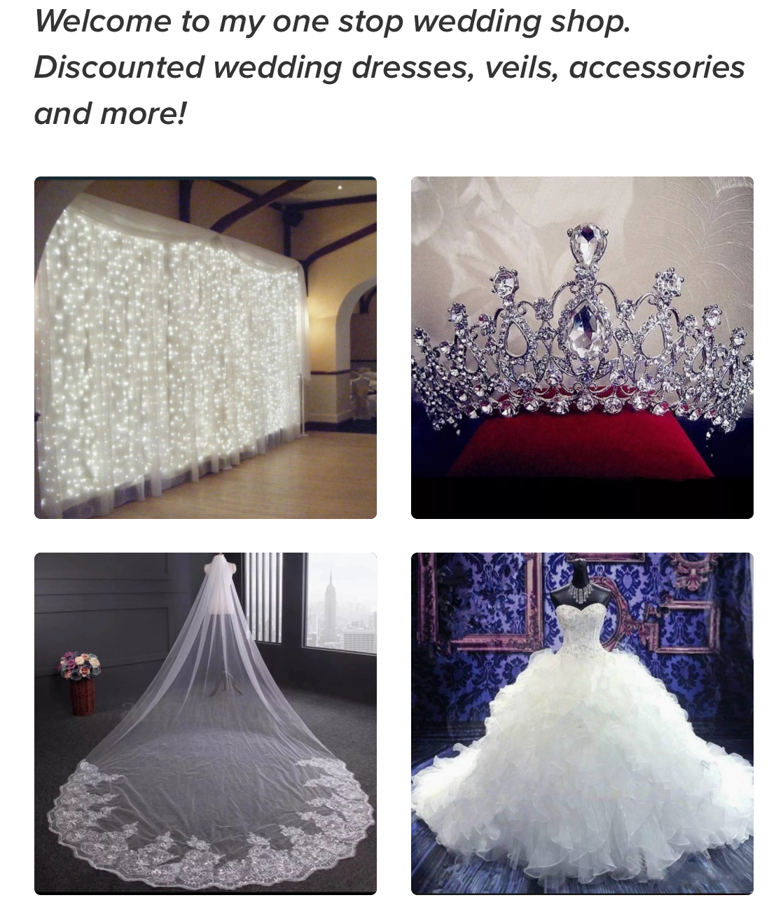 Bridal One Stop Wedding Shop. See Shop Link Below!