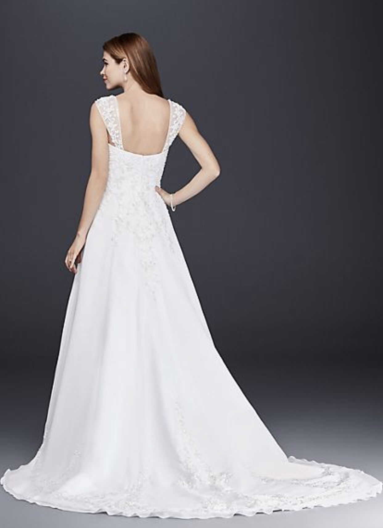 David's Bridal - A Line Chiffon Split Front Overlay Wedding Dress
