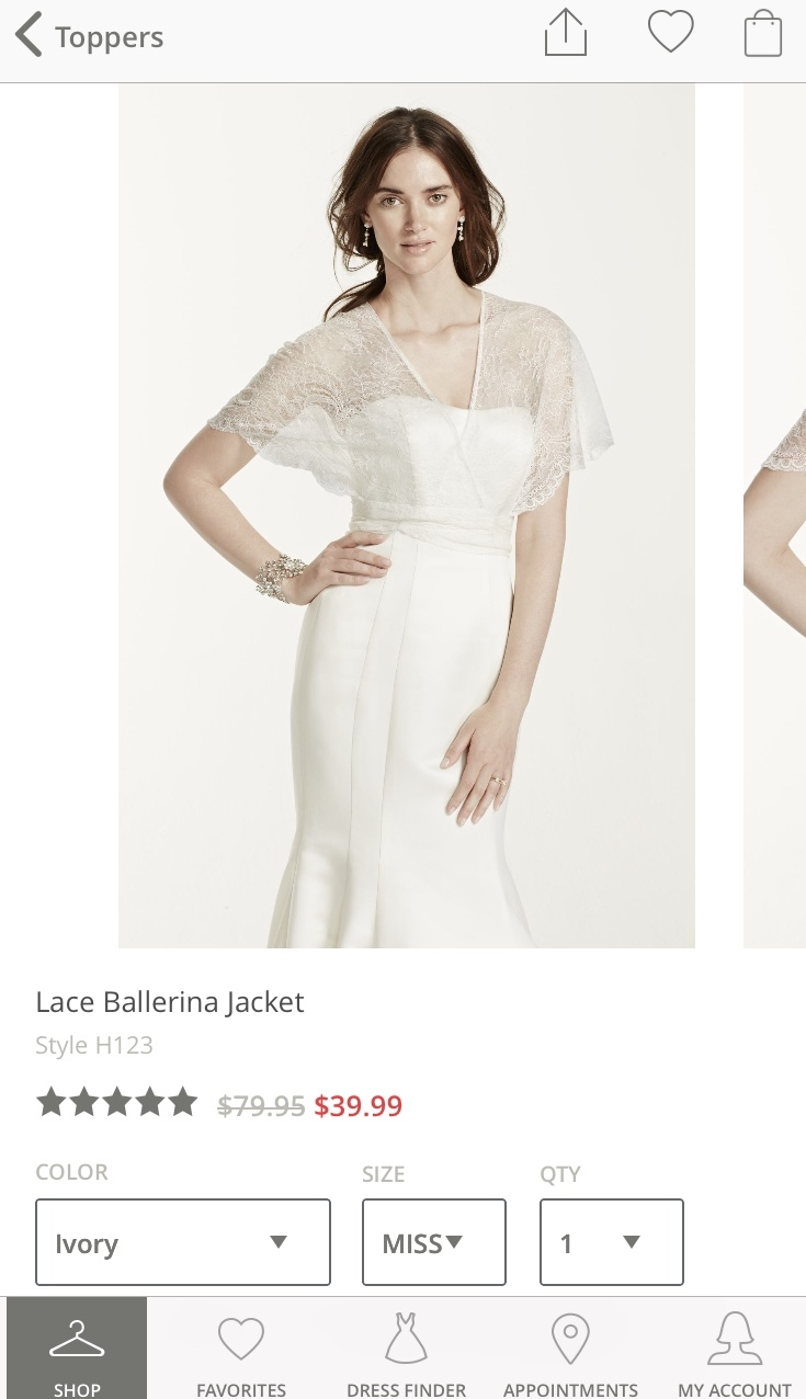 David's Bridal Ballerina Jacket