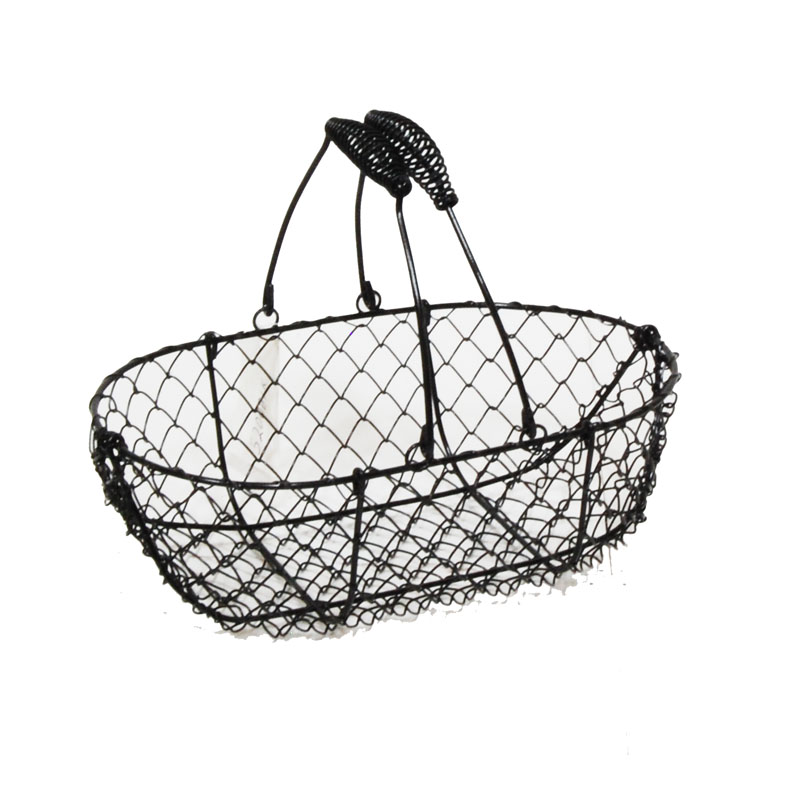 Stella Black Mini Oblong Wire Basket 9in