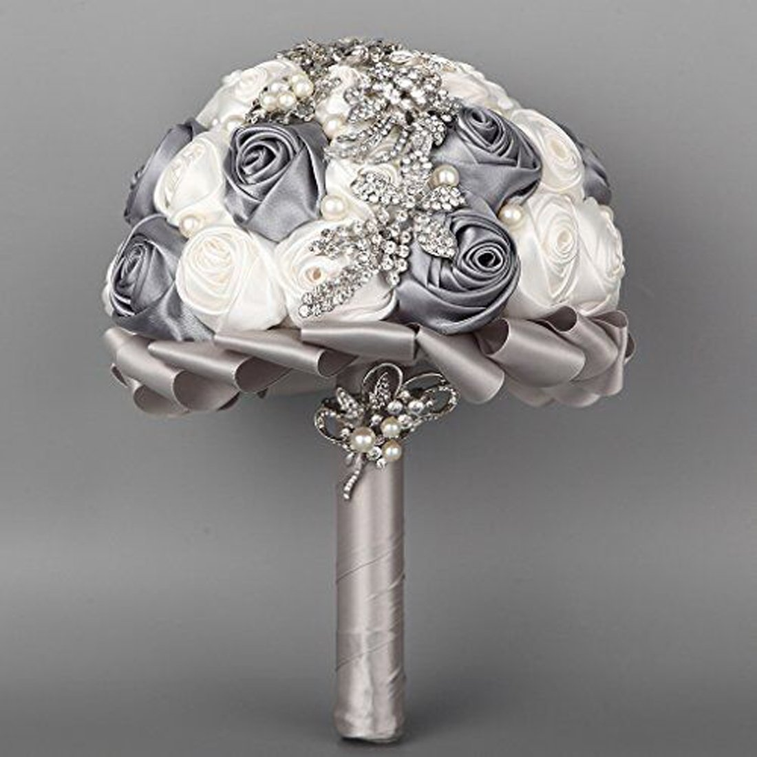 Handmade Silk Rose Brooch Bouquet