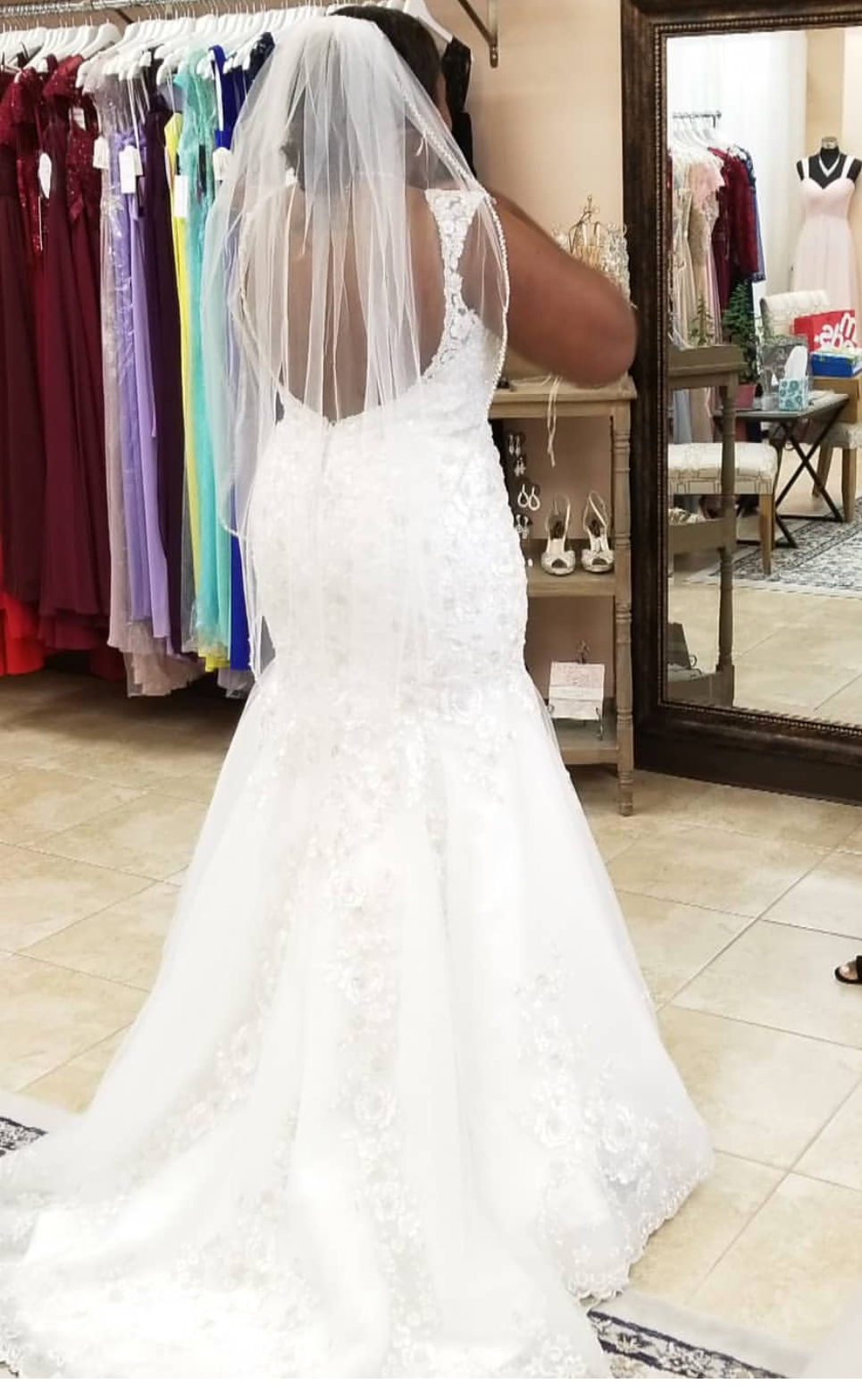 Ivory Wedding Gown With Rhinestones