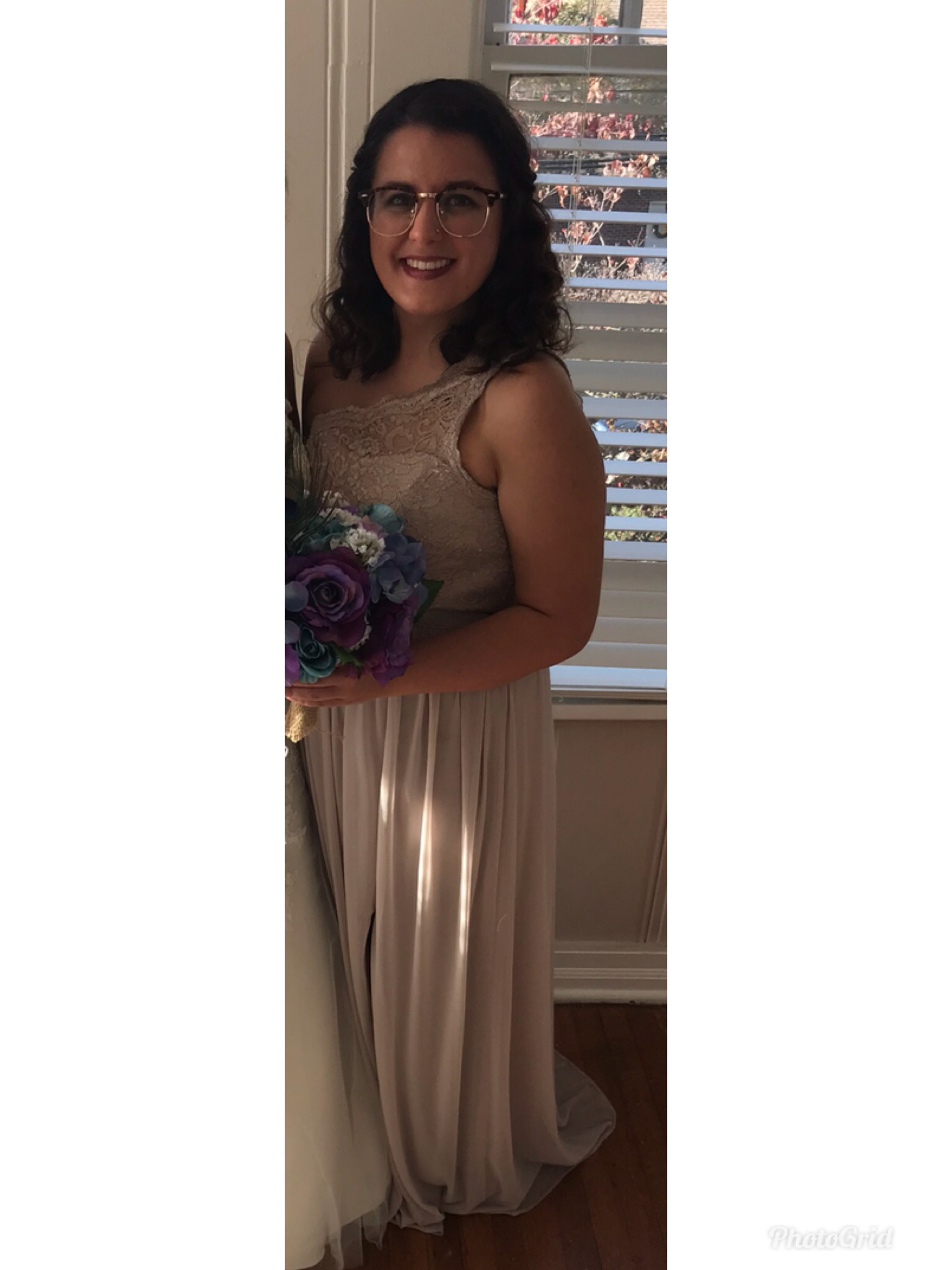 David's Bridal - One Shoulder Metallic Gold