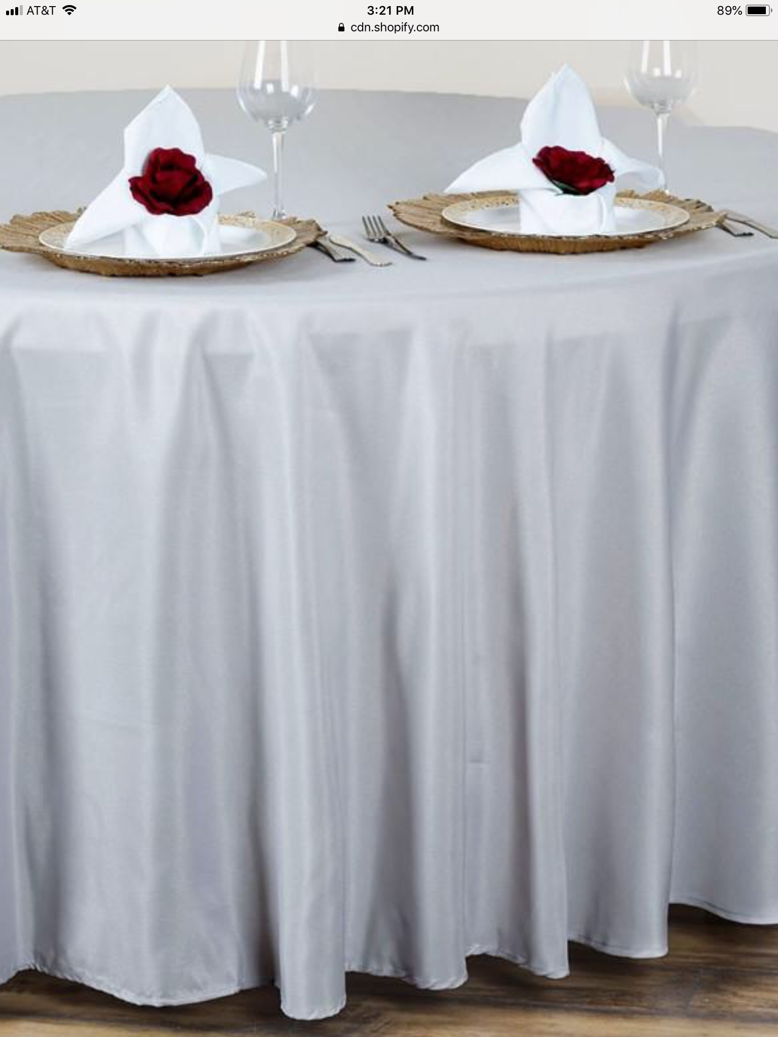 Silver Polyester Round Table Cloth