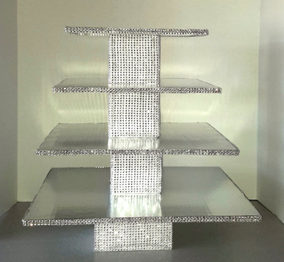Bling Cupcake Stand Square Shape With Silver Cake Risers