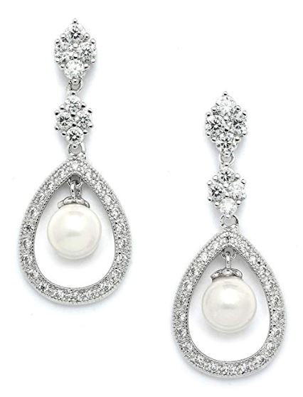 Mariell Cz And Pearl Drop Vintage Wedding Dangle Earrings
