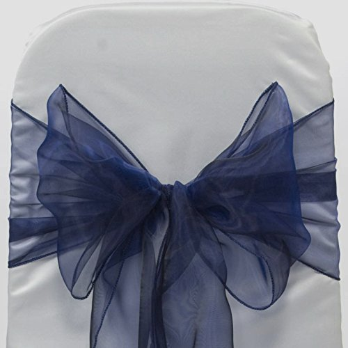 Navy Blue Organza Chair Bows (100pcs)