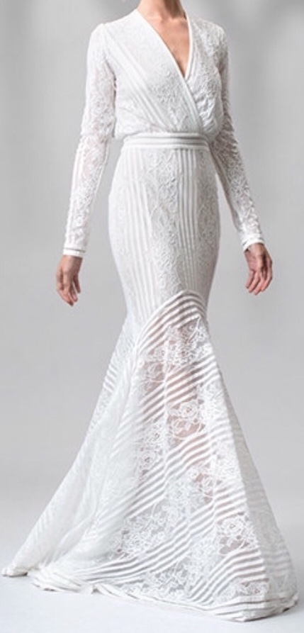 Tadashi Shoji Stripe Knit And Floral Lace Long Sleeve Gown Aom2120l-ivory