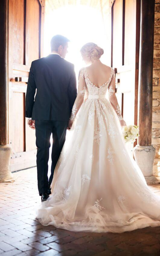 Essense of Australia - Ivory Sleeved Tulle Wedding Dress With Illusion Lace
