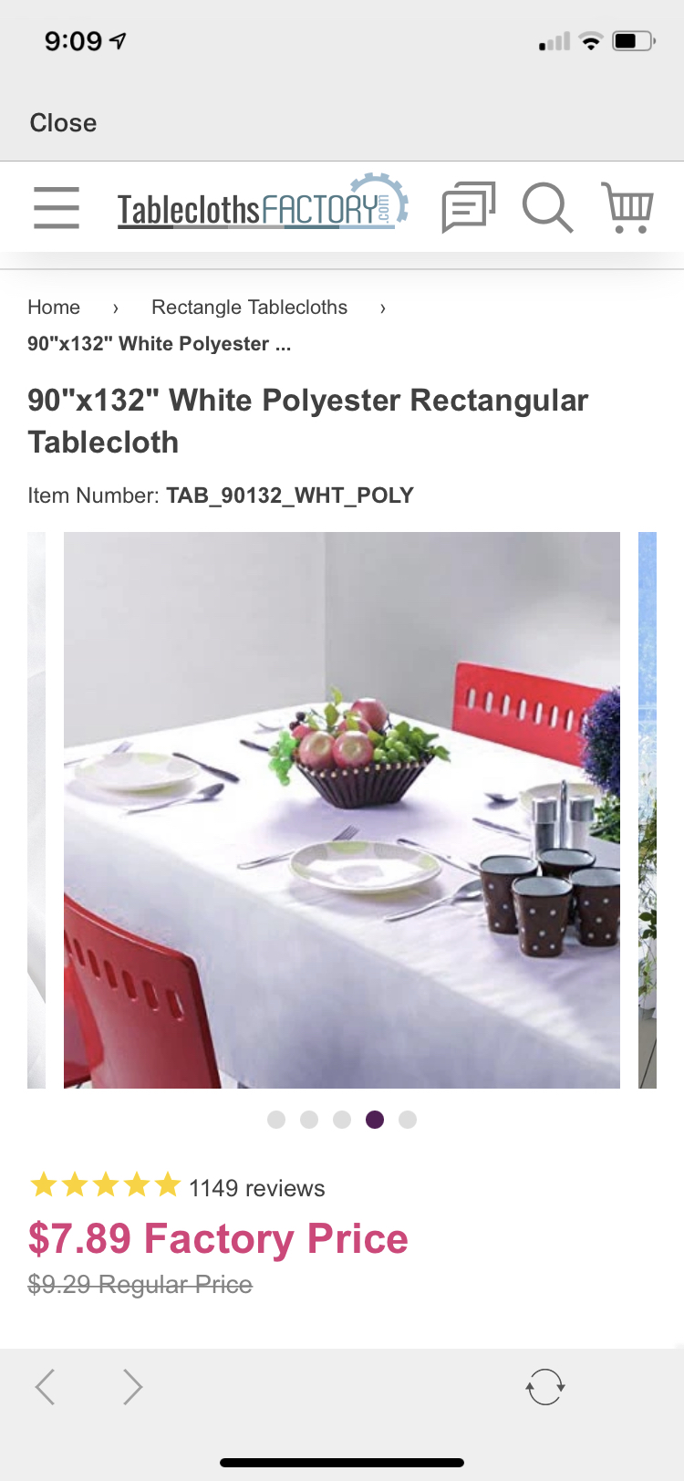 "White Polyester Tablecloth 90"" X 132"" Rectangle"