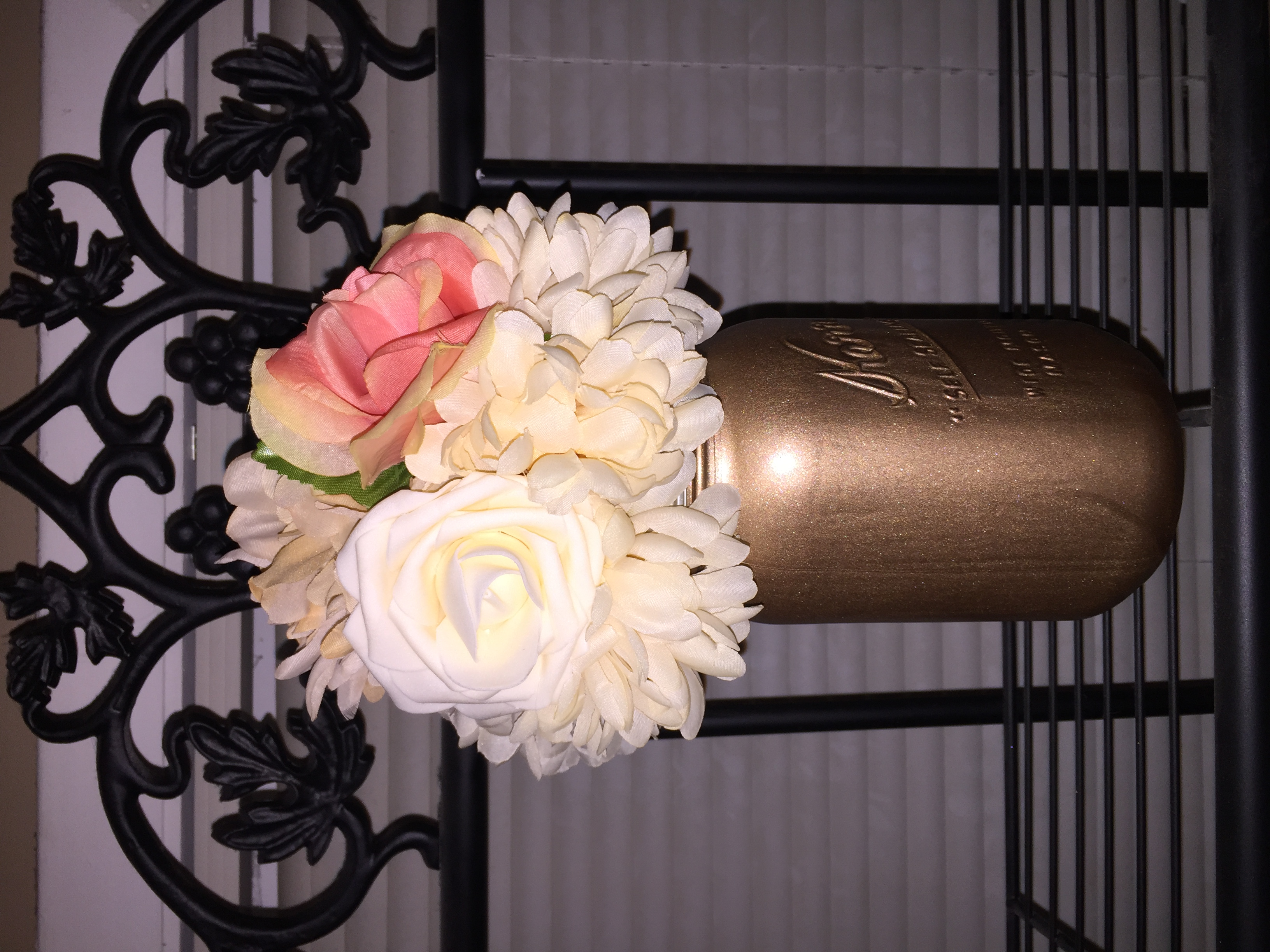 12 Total -Silk Flower Bouquets-Mint, Cream, Gauva(coral), With Rose Gold Mason Jars