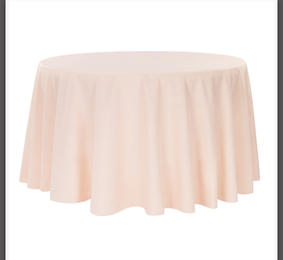 Quantity 12- 132� Round Light Pink Table Cloths