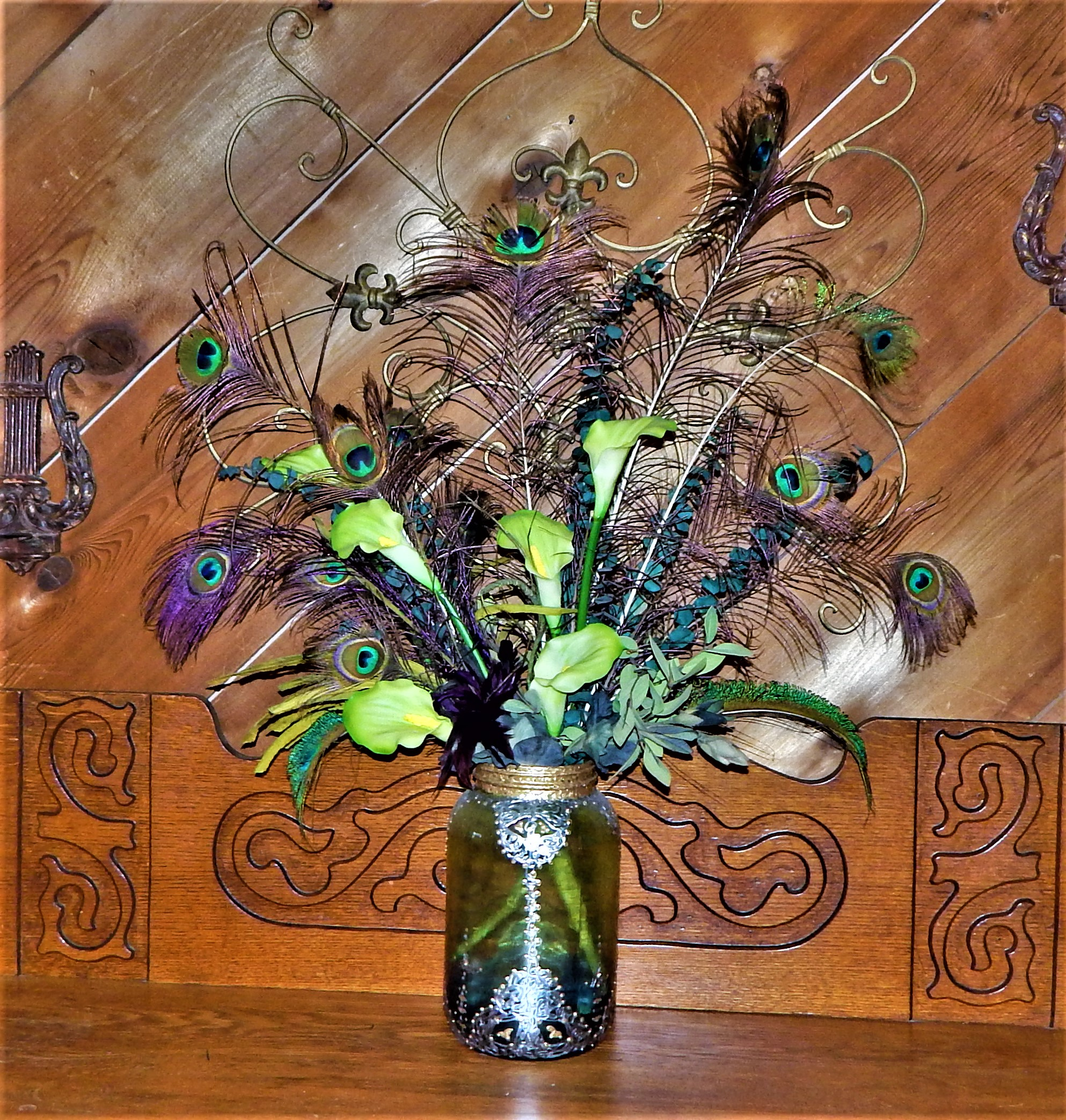 2 Pc Peacock Feather~ Calla Lily~ Eucalyptus Bouquets