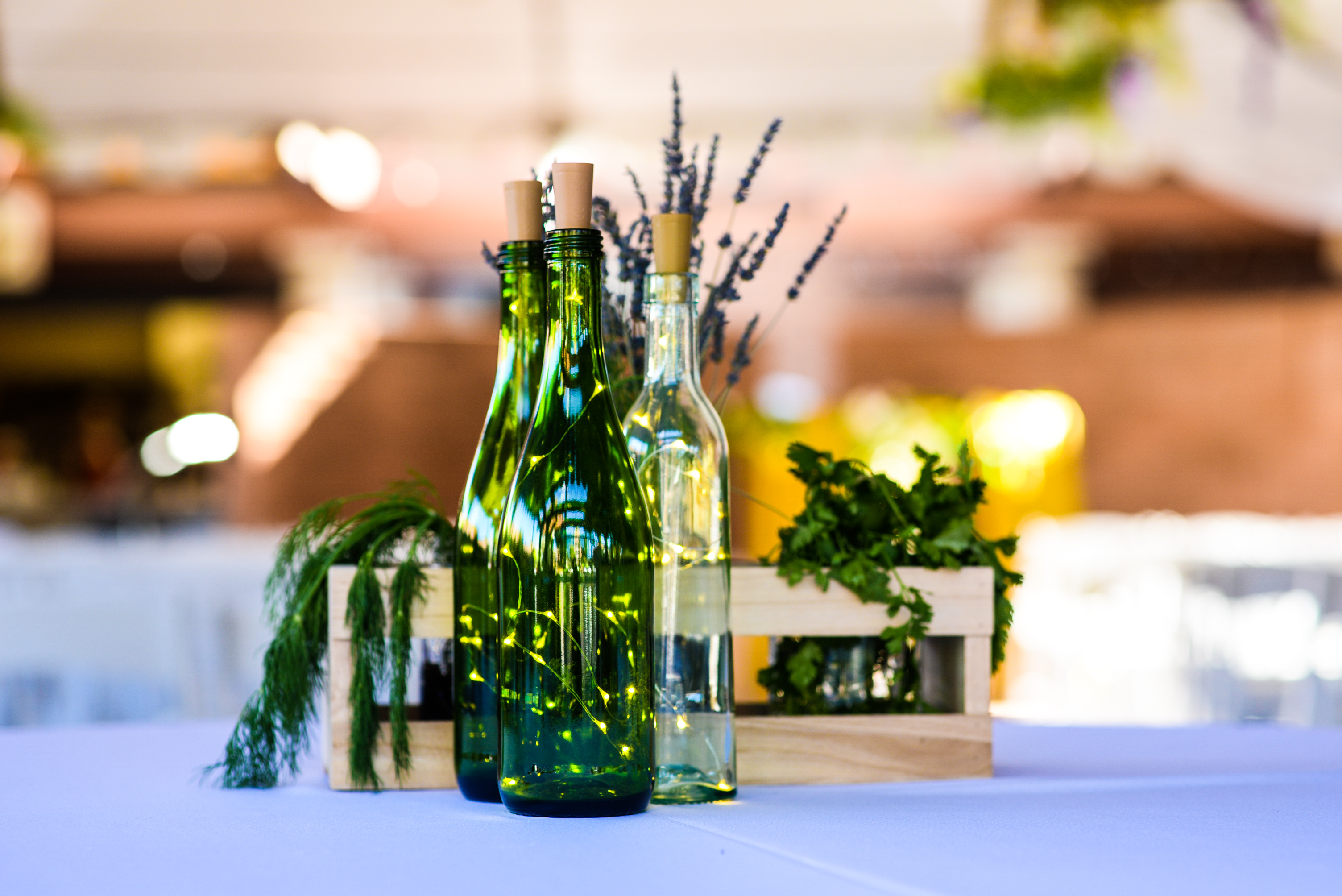 Twinkle Lights Wine Bottle Centerpiece | Wedding Decoration ...