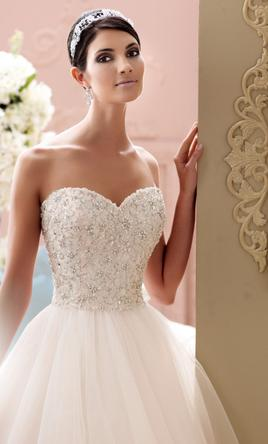 David Tutera - Strapless Unaltered Beaded Tulle Wedding Dress Ball Gown