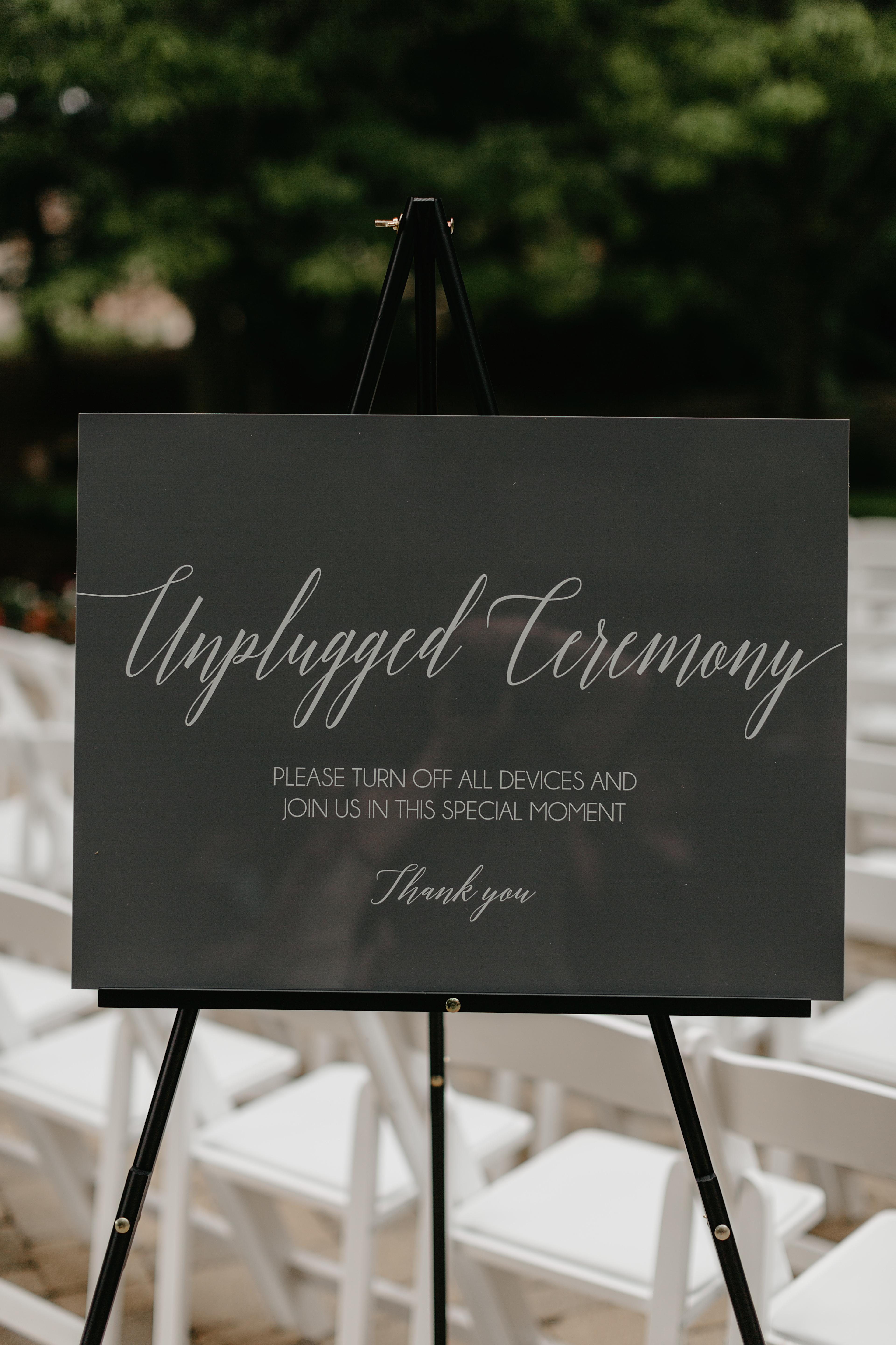 Unplugged Ceremony Combo Clear Glass Look Acrylic Wedding Sign, 18x24