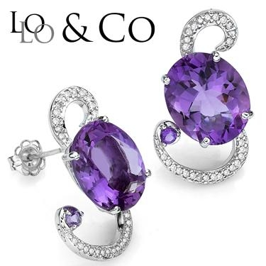 New Exquisite Lolo & Co. 8.71 Carat Tw (eclipse) Amethyst & Genuine Diamond Platinum Over 0.925 Sterling Silver Earrings