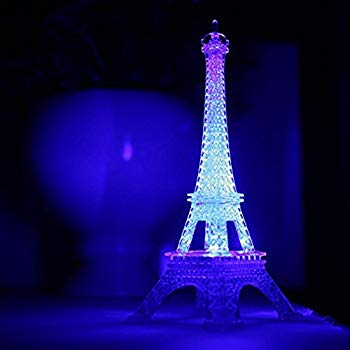 9-inch Light Up Acrylic Led Eiffel Tower Souvenir W/build In Multicolored Led Lights