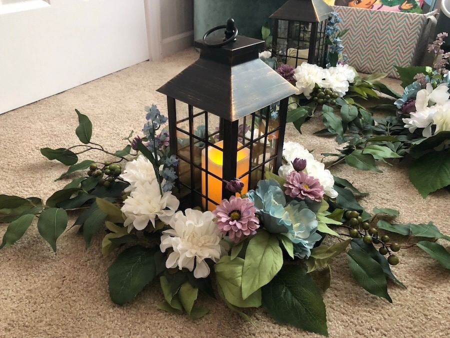 12 Floral Lantern Centerpieces (dusty Blue, Mauve, And White) Homemade