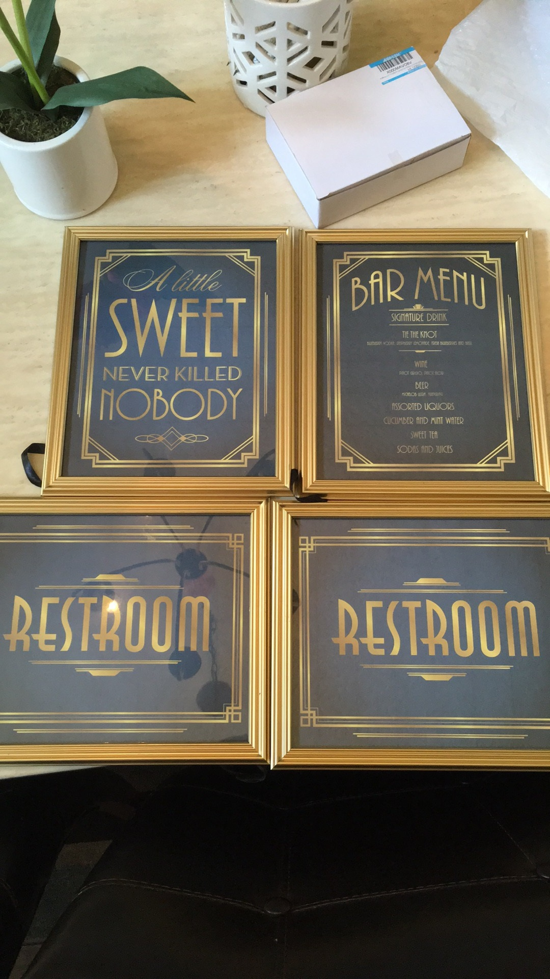 10 Navy And Gold Wedding Signs Art Deco