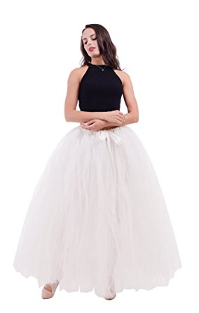 Long White Tulle Skirt