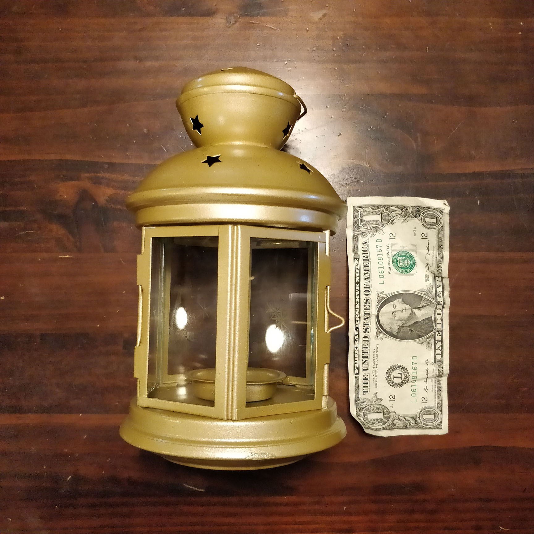 Gold Metal And Glass Lantern - Qty: 24