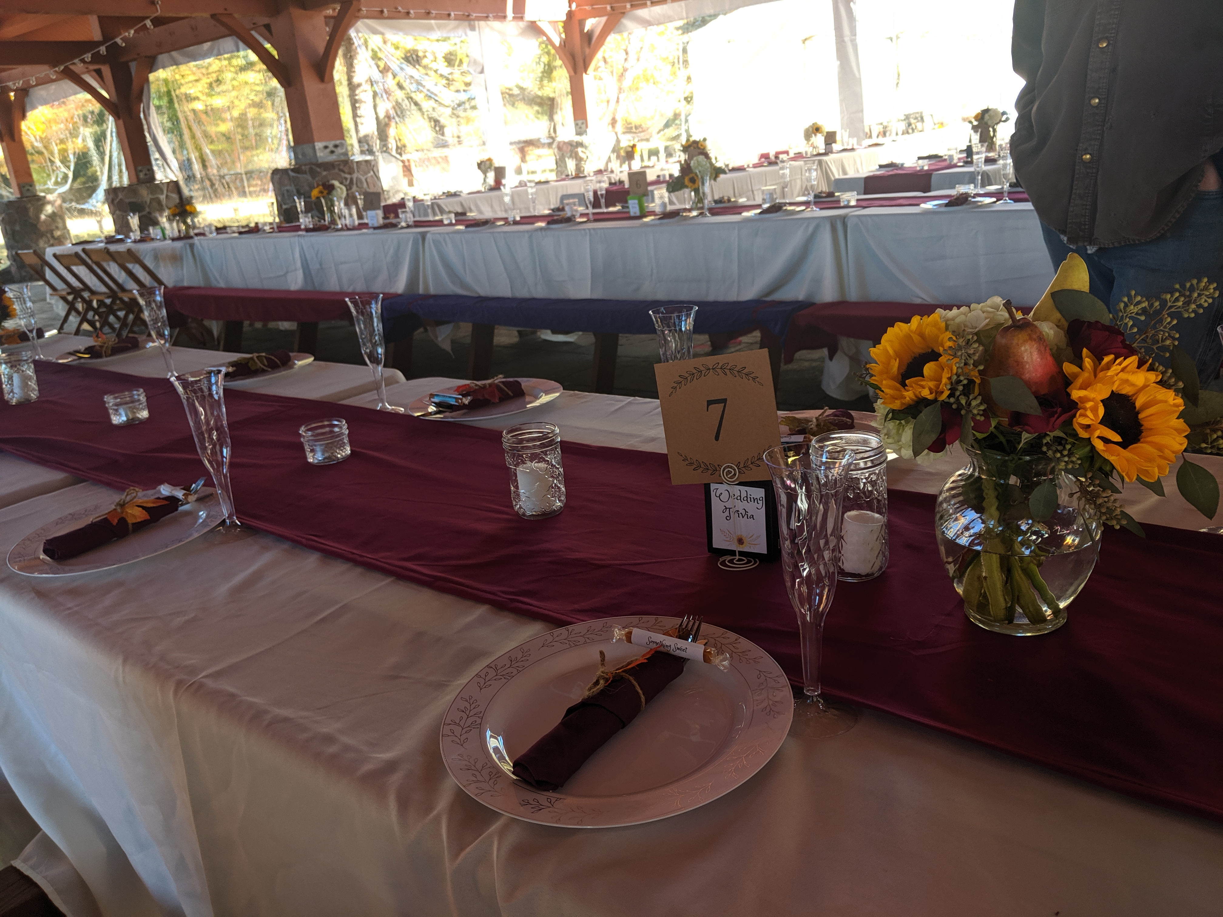 10 Foot Long Burgundy Table Runner